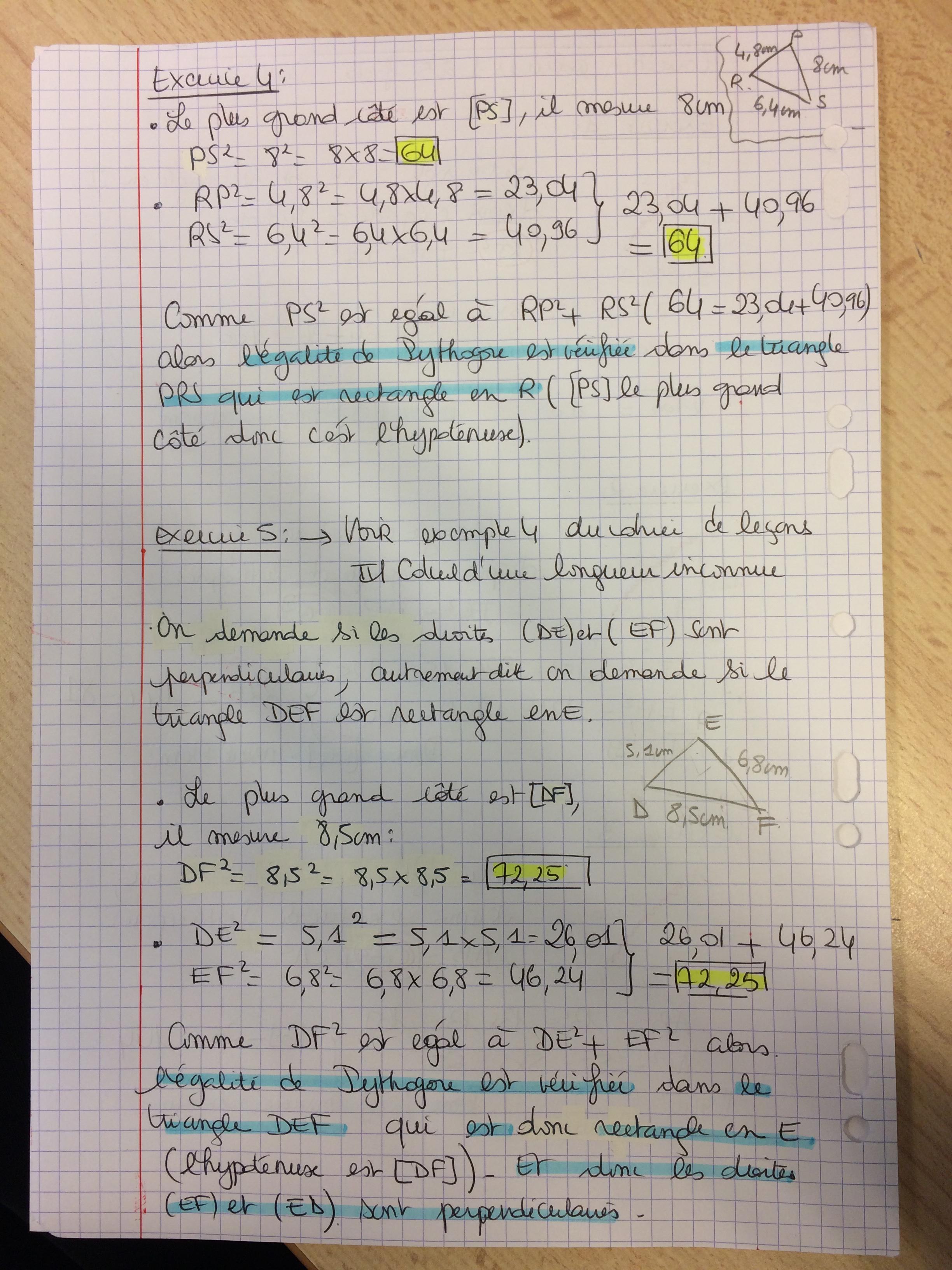 3ème//correction exercices 1 à 5 fiche égalité de ...